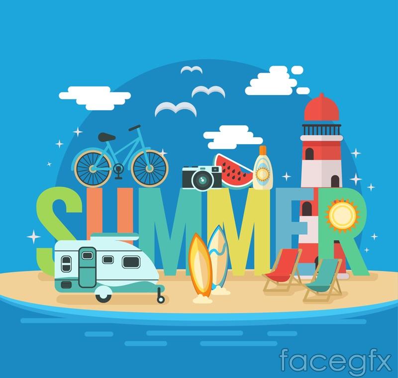 Summer travel vector illustration