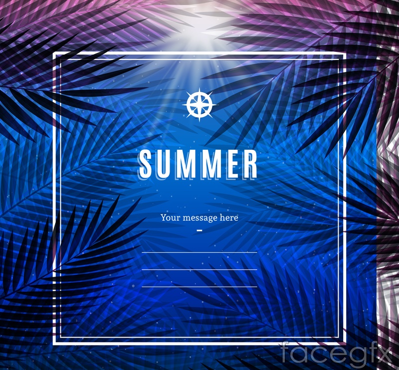 Text background vector summer Palm tree figure