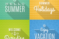 4 summer holiday word art poster vector diagrams