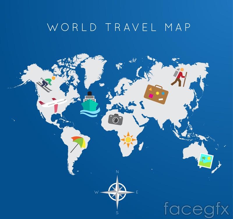 Travel around the world map vector