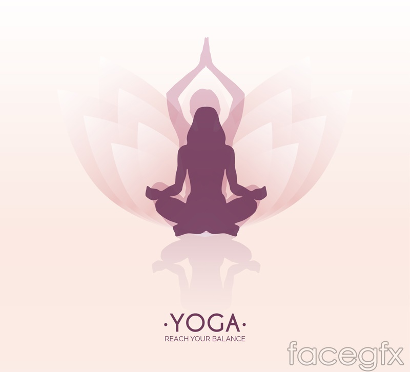Yoga Lotus background woman logo vector