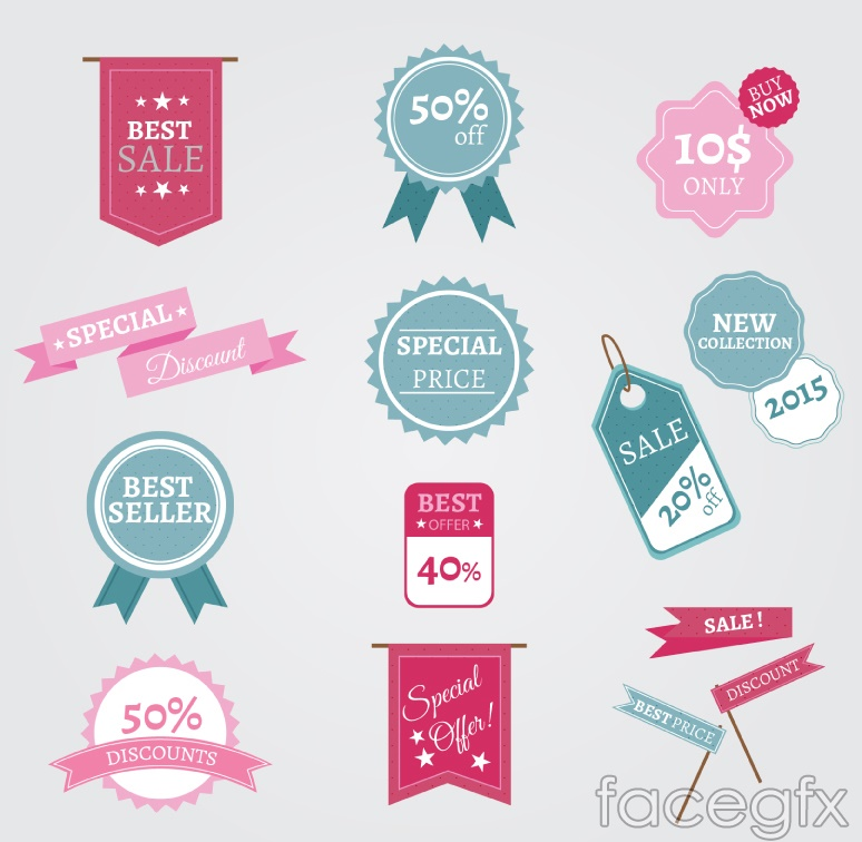 14 color promotional tag vector