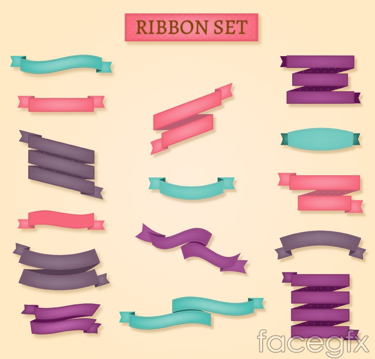 15 colored ribbon banner vector