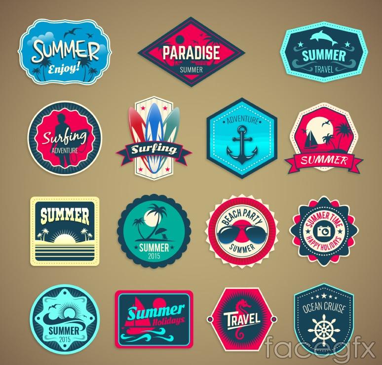 15 summer holiday tag vector