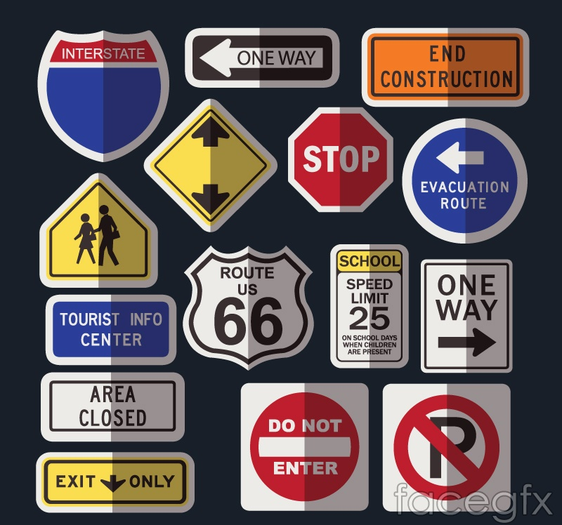 15 traffic sign vector illustration