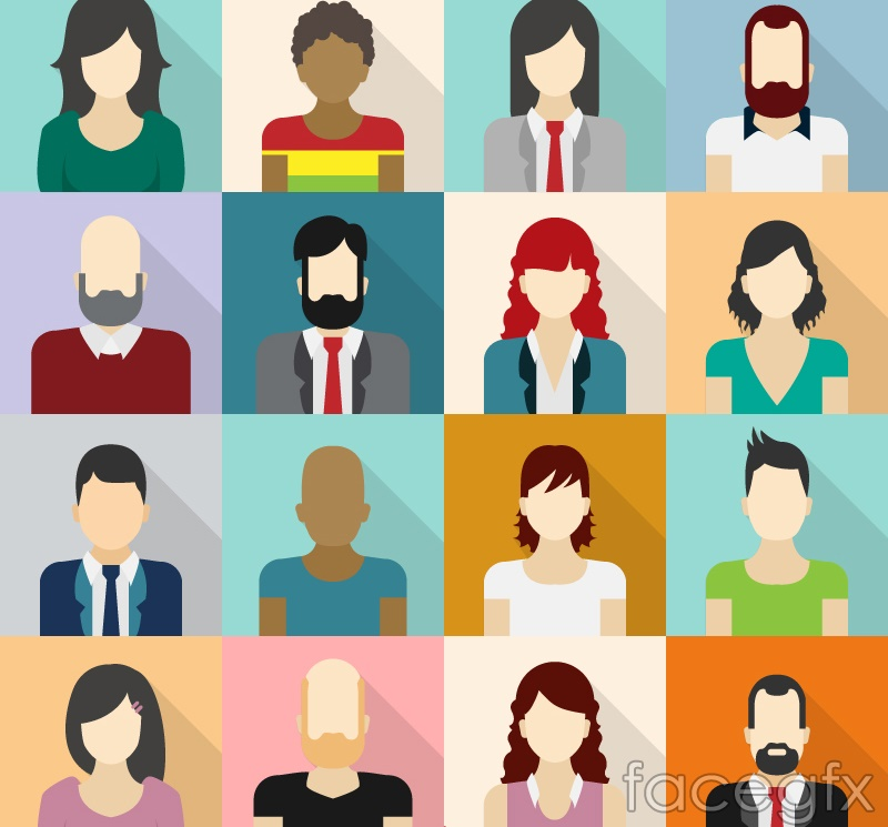 16 square characters avatar vector illustration