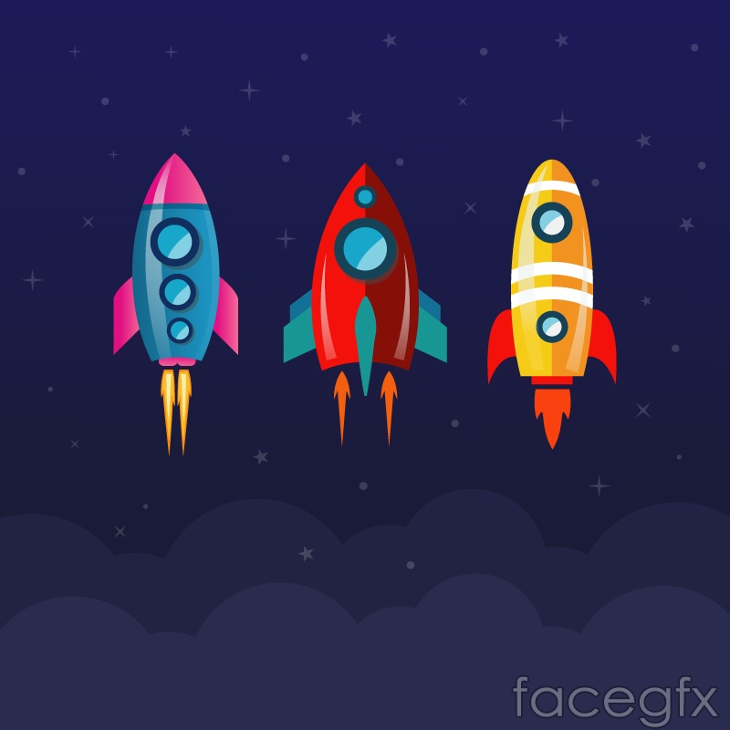 3 cartoon rocket design vector graph