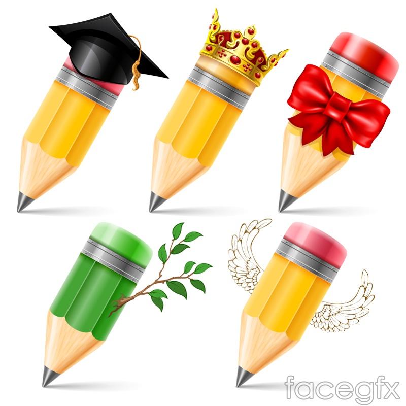 5 cartoon pencils vector