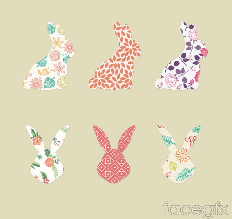 6 paragraph patterned Bunny avatar vector illustration
