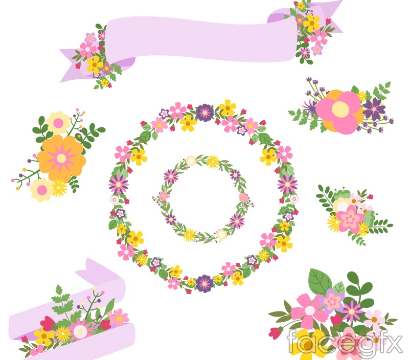 8 flowers with ribbons vector