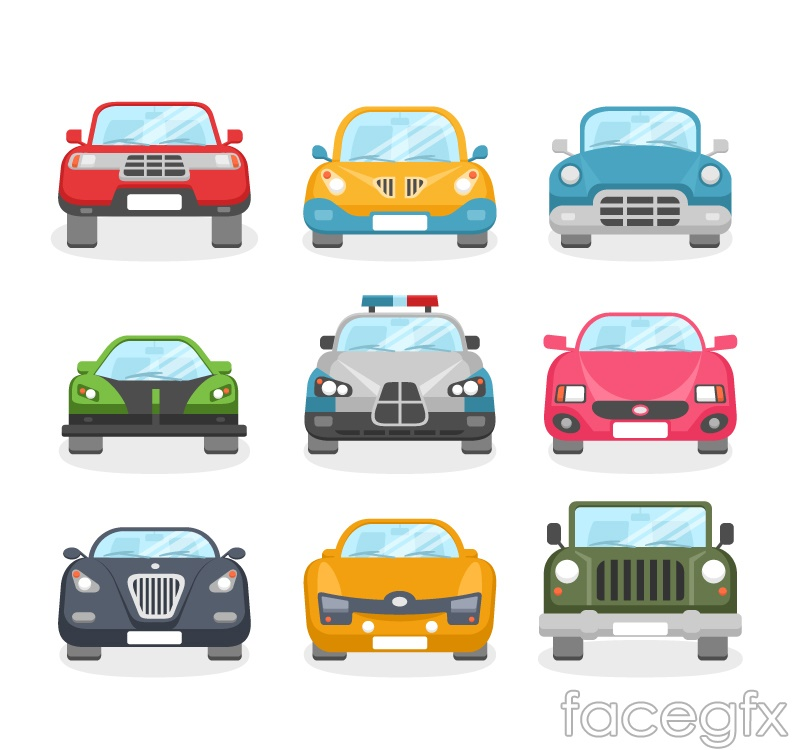 9 cartoon vehicle design vector graph