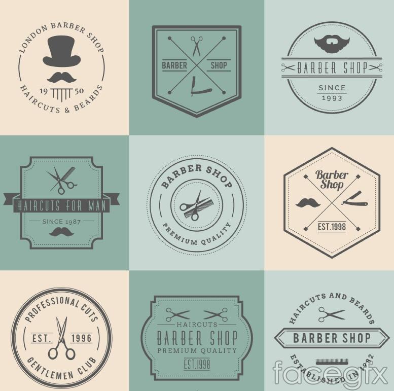 9 vintage barbershop tag vector