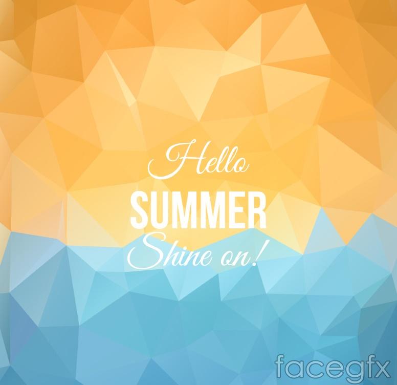Abstract geometric summer beach poster vector