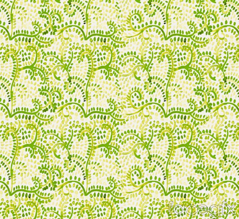 Green fern seamless vector background illustration