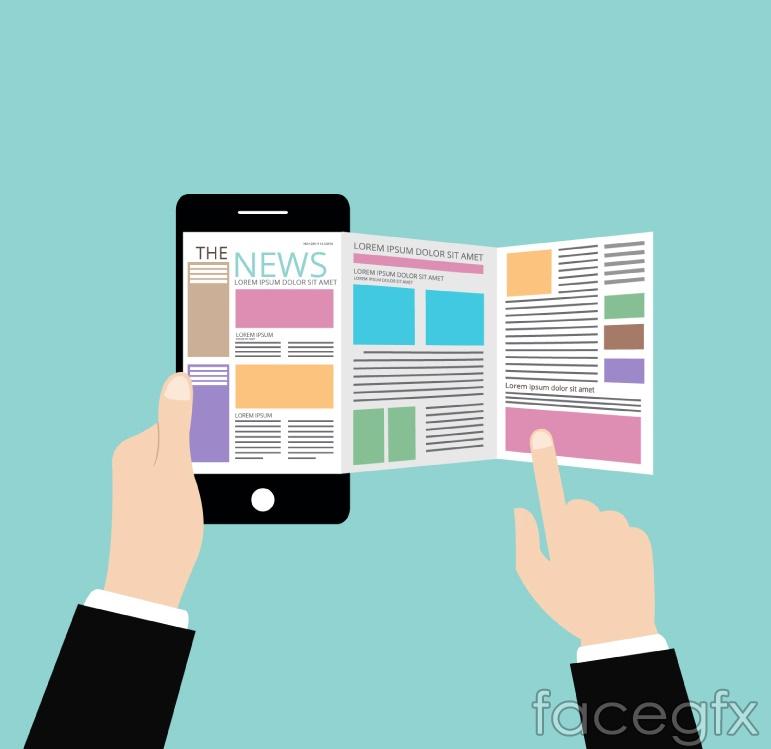 Phone reading network news Illustrator vector maps