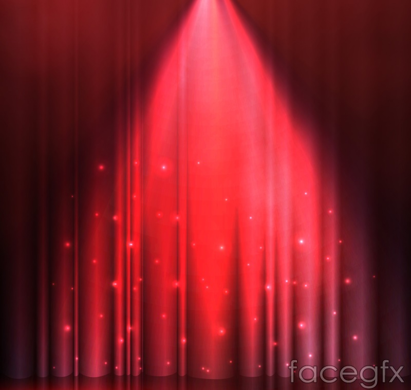 Red Spotlight stage background vector