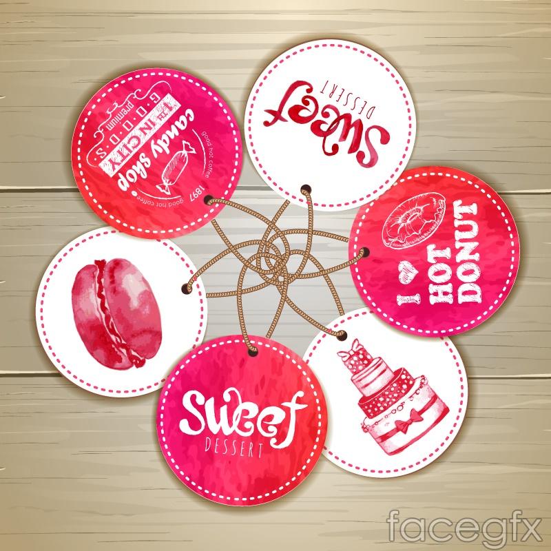 Round watercolor dessert tag vector