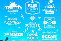 9 summer holiday word art vector illustration
