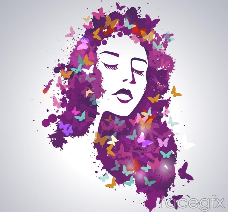 Watercolor butterflies and long hair girl vector