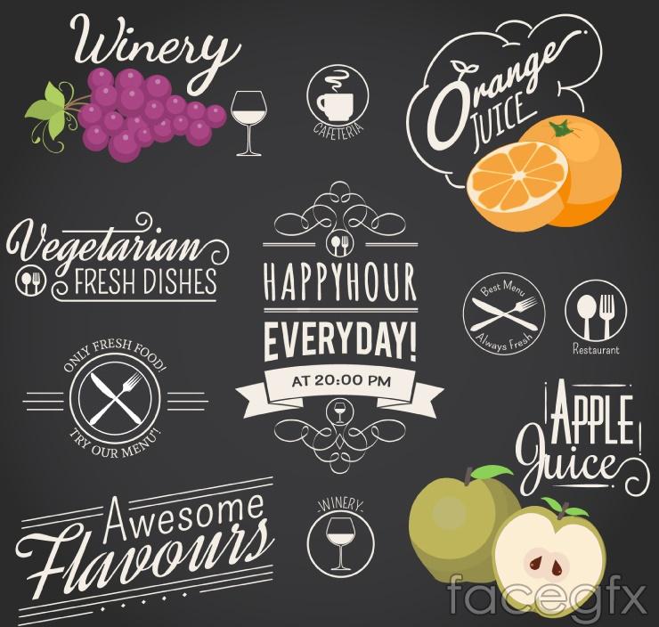 11-restaurant drinks tag vector