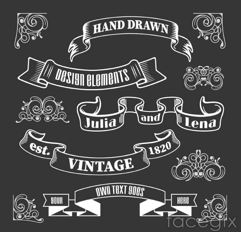 12 hand-painted pattern with Ribbon vector diagrams