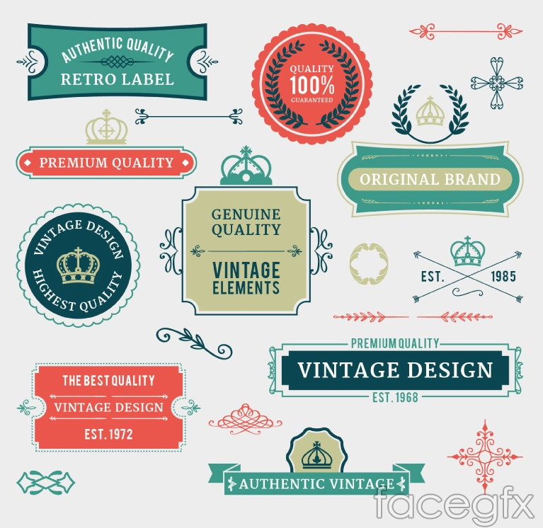 20 promotional labels and lace vector