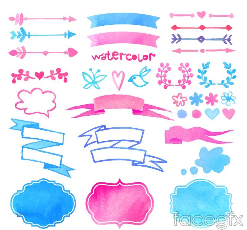 32 watercolor arrow and ribbons vector