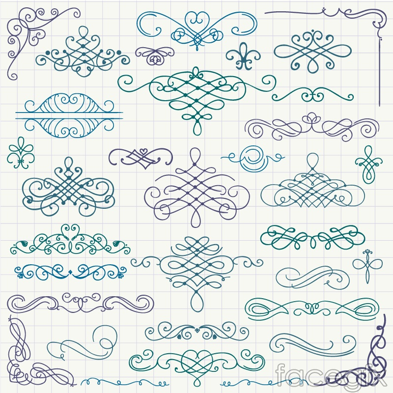 34 hand-painted pattern design vector graph