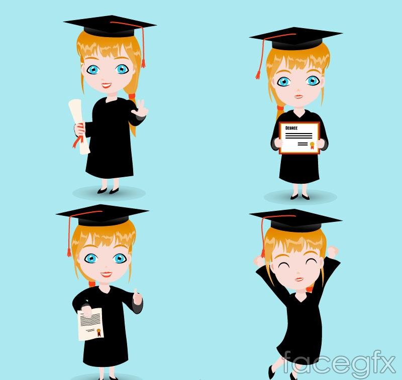 4 girls graduating design vector