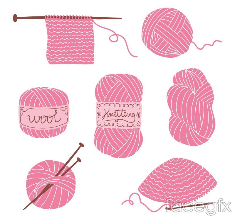7 pink wool vector