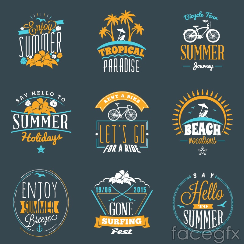 9 blue and yellow color scheme of the summer holidays label vector