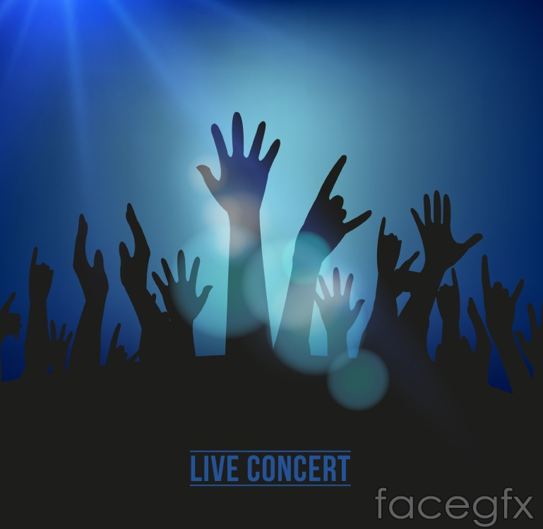 Arms concert crowd silhouettes vector