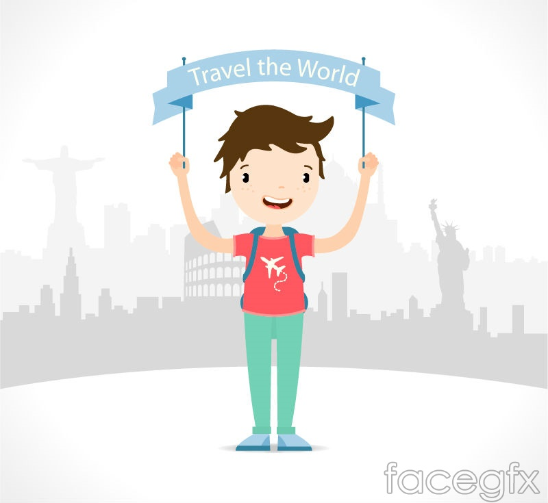 Banner travel boy vector