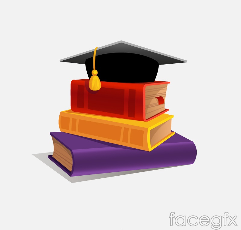 Beautiful books and doctoral Hat vector