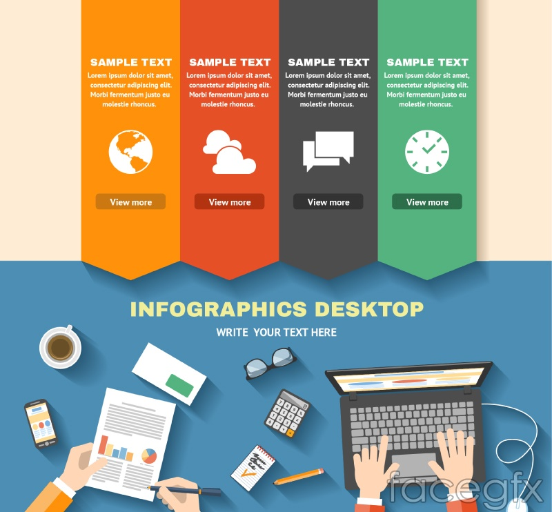 Business desktop information vector