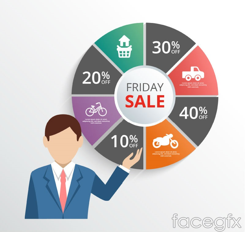 Business man with Friday sales charts vector
