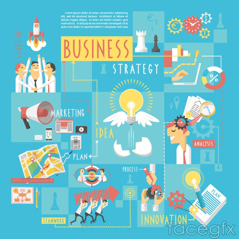 Cartoon-style business information vector charts