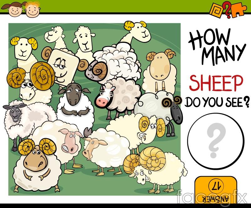 Children's math book sheep illustration vector