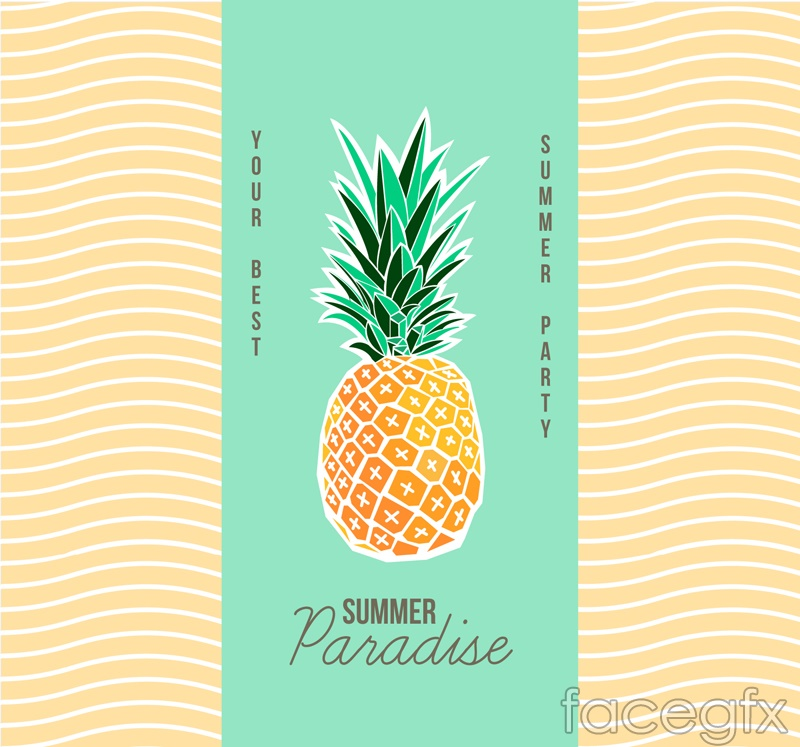 Creative pineapple summer party poster vector graphics
