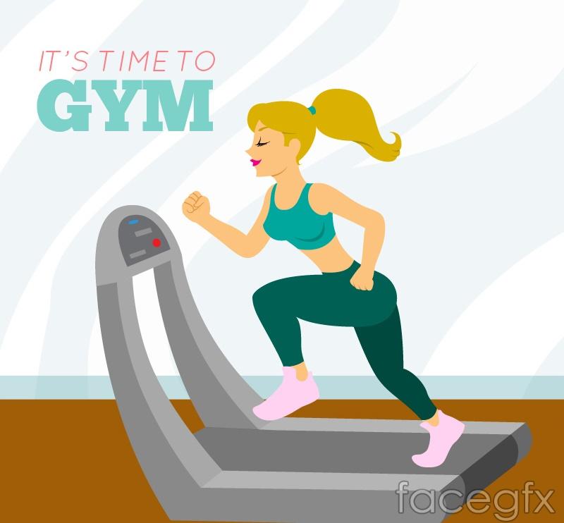 Exercise on a treadmill girl vector
