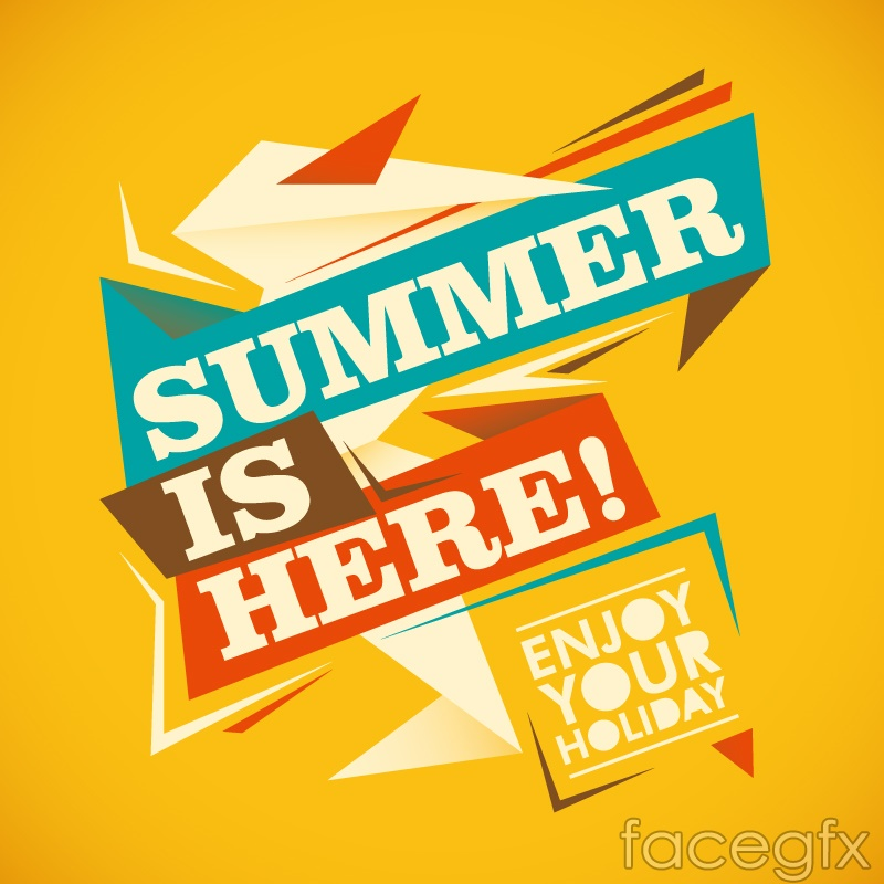 Stylish geometric font poster summer vector