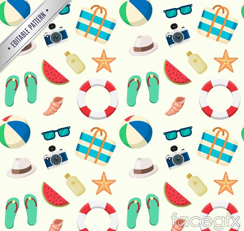 Summer beach elements seamless vector background illustration