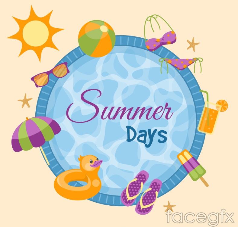 Summer pool element vector