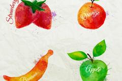 4 watercolor fruit design vector graph