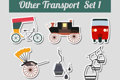 9 transport stickers vector