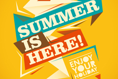 Stylish geometric font poster summer vector