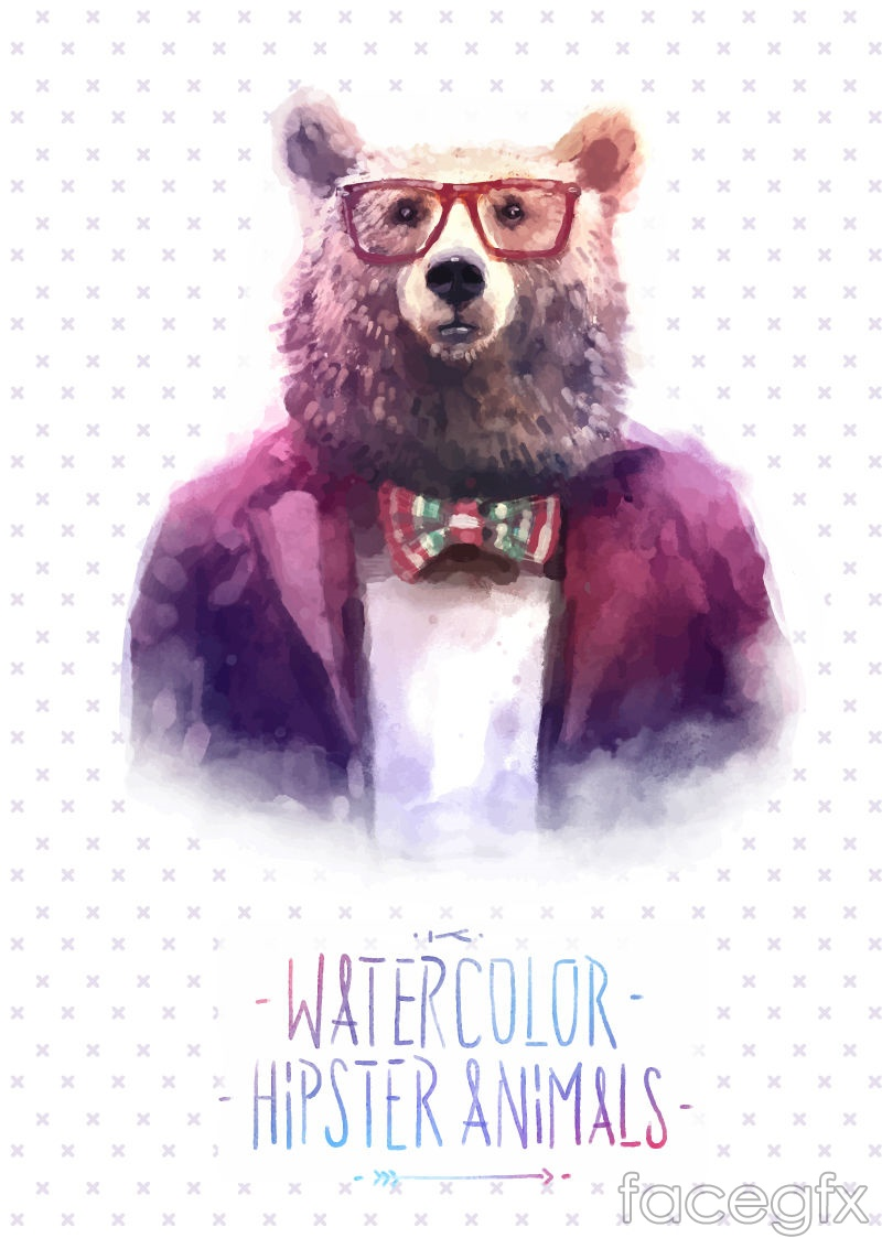 Water painting bear head vector