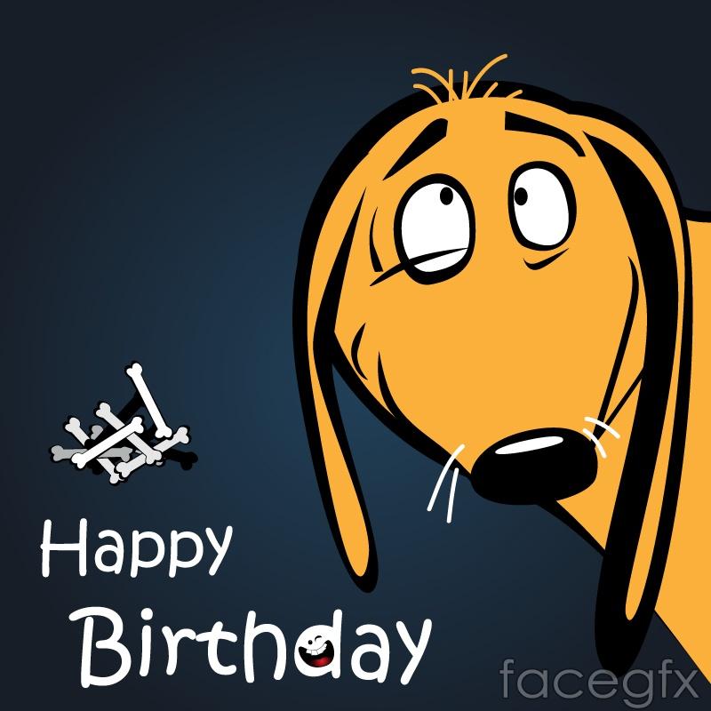 Yellow Dog cartoon birthday greeting card vector