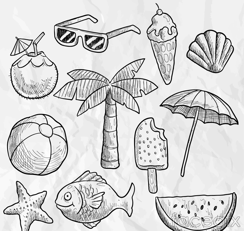 11 hand-painted summer element vector