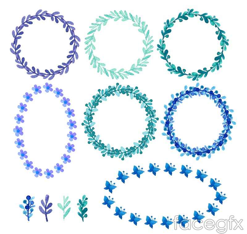 11 leaves and twigs wreath vector